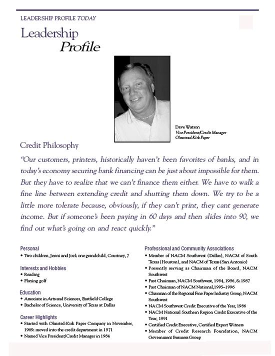 leadership profile paper