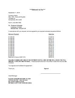 Payment Arrangement Letters