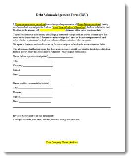 acknowledgement of debt requirements